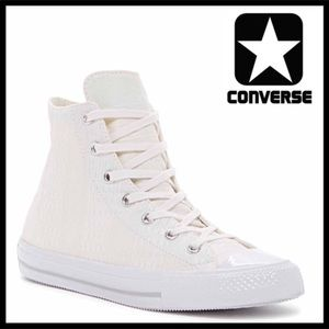 CONVERSE WHITE HIGH TOPS CHUCK TAYLOR SNEAKERS